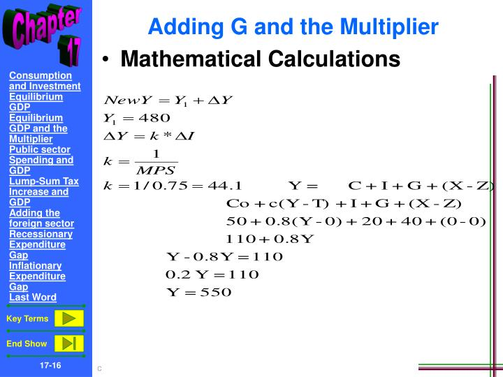 Adding G and the Multiplier