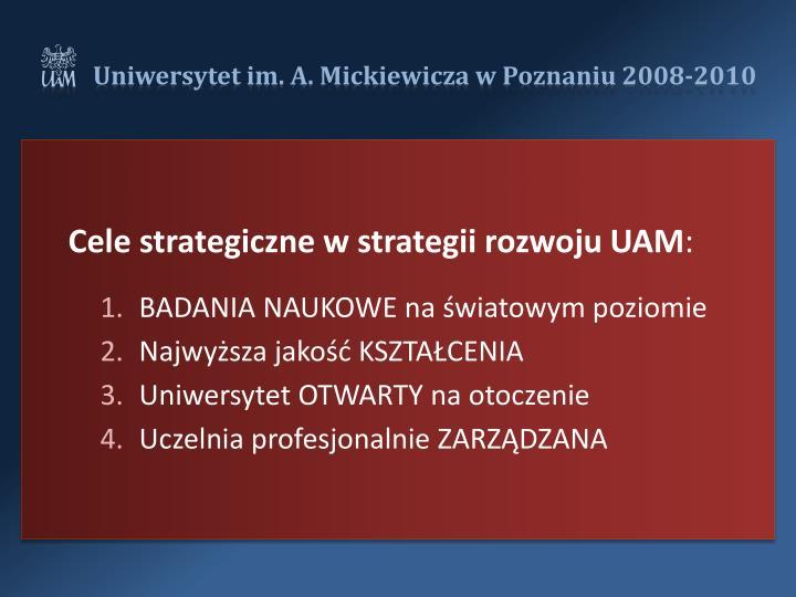 Cele strategiczne w strategii rozwoju UAM