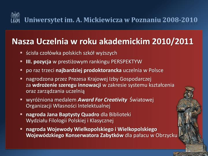 Nasza Uczelnia w roku akademickim 2010/2011