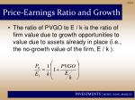 price earnings ratio and growth