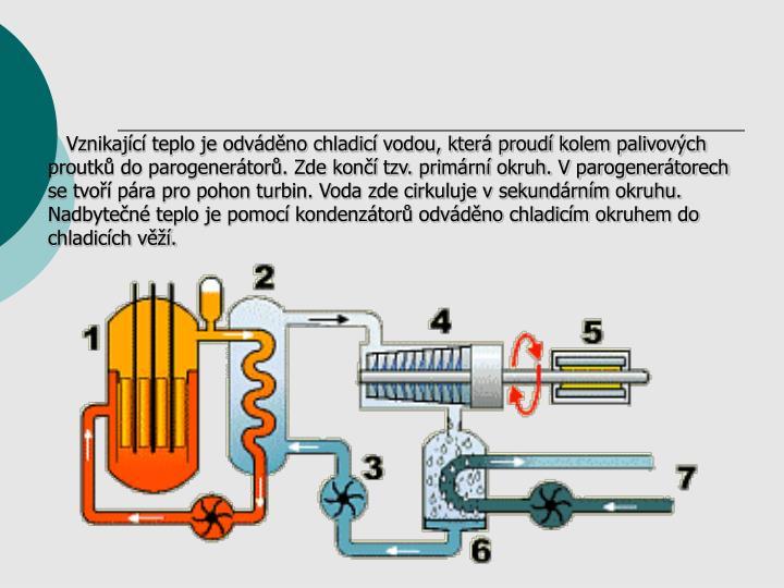 Vznikajc teplo je odvdno chladic vodou, kter proud kolem palivovch proutk do parogenertor. Zde kon tzv. primrn okruh. V parogenertorech se tvo pra pro pohon turbin. Voda zde cirkuluje v sekundrnm okruhu. Nadbyten teplo je pomoc kondenztor odvdno chladicm okruhem do chladicch v.