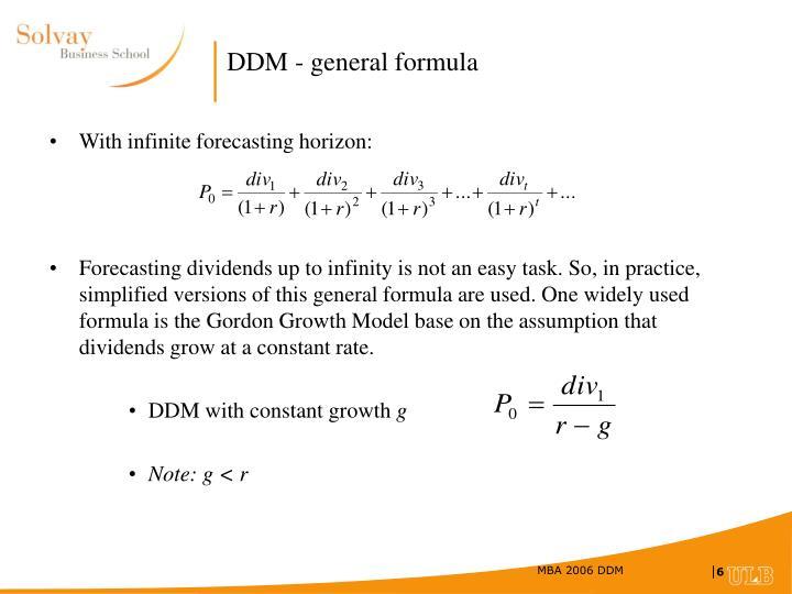 DDM - general formula