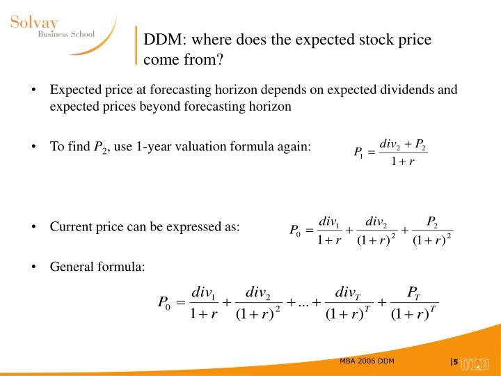 DDM: where does the expected stock price come from?
