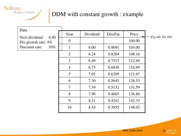 DDM with constant growth : example