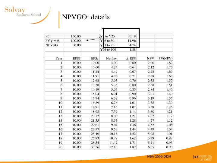 NPVGO: details