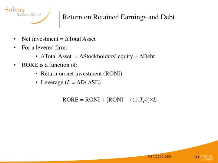Return on Retained Earnings and Debt