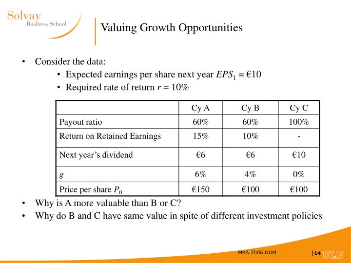 Valuing Growth Opportunities