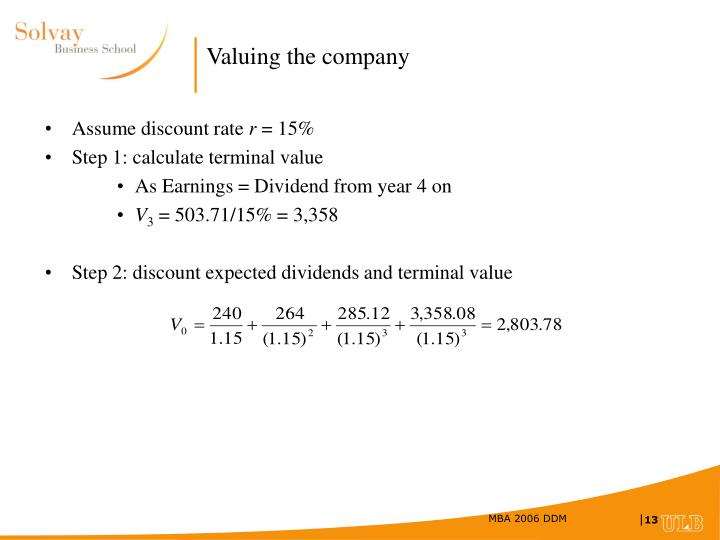 Valuing the company