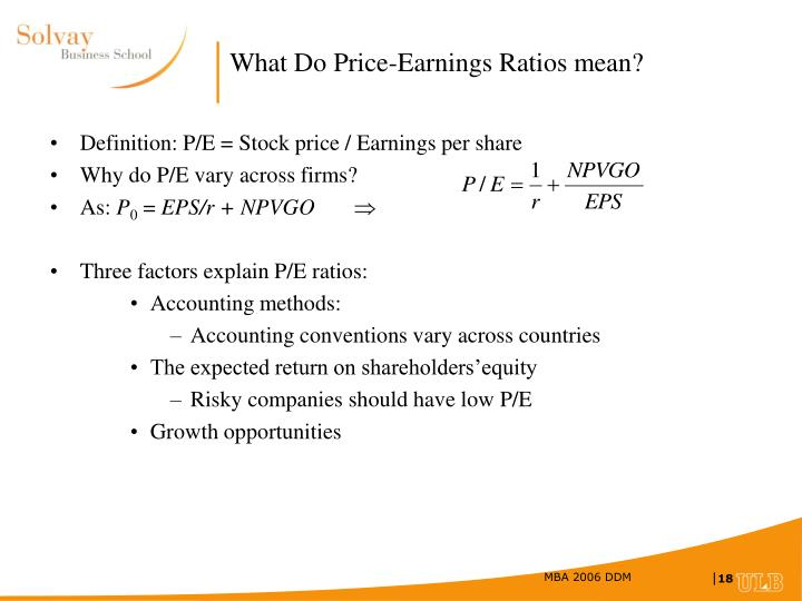 What Do Price-Earnings Ratios mean?