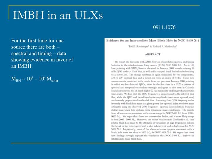 IMBH in an ULXs