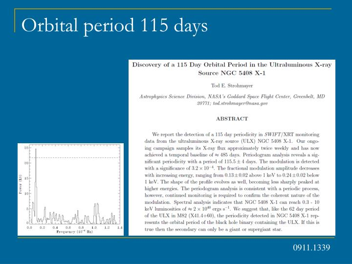 Orbital period 115 days