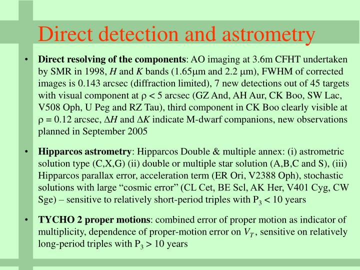 Direct detection and astrometry