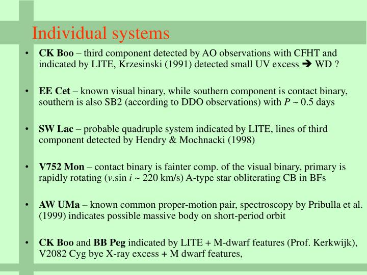 Individual systems