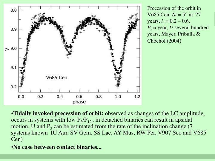 Precession of the orbit in V685 Cen,