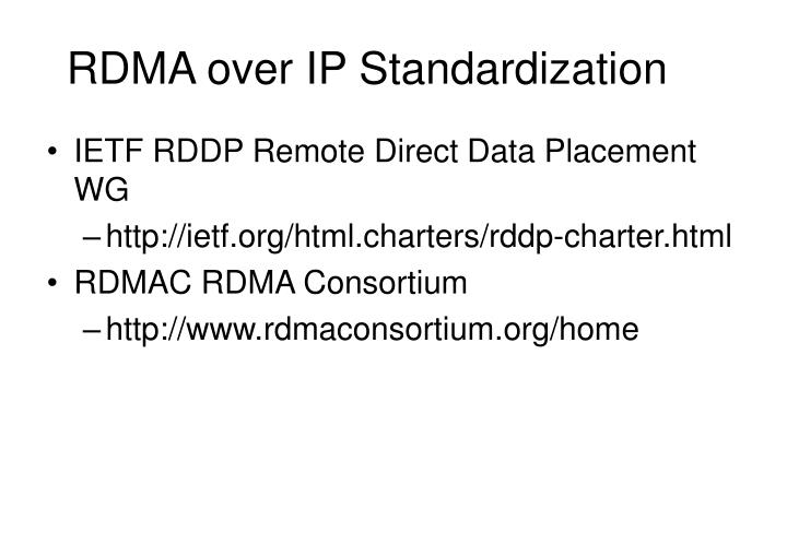 RDMA over IP Standardization