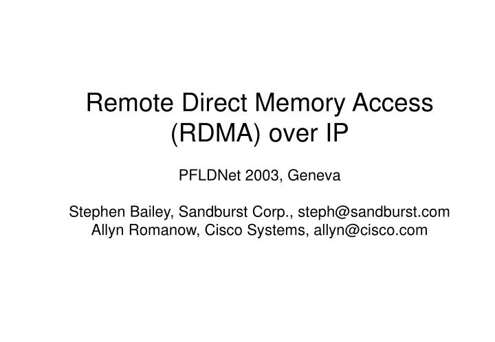 Remote Direct Memory Access (RDMA) over IP