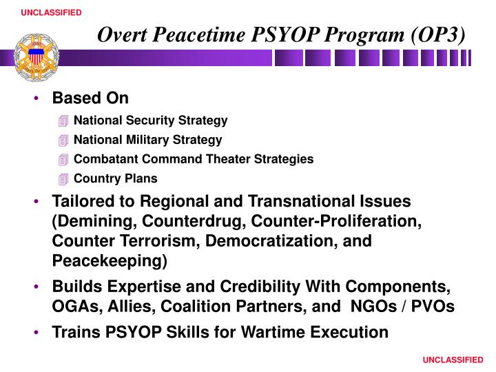 Overt Peacetime PSYOP Program (OP3)