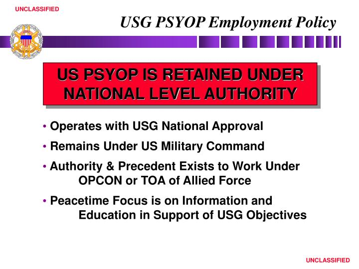 USG PSYOP Employment Policy