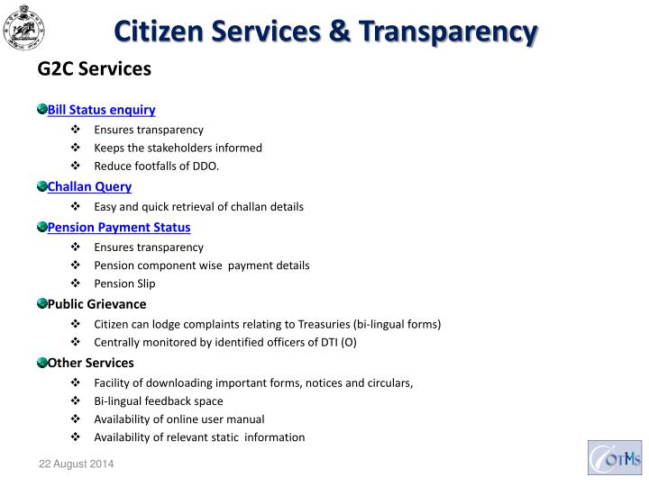Citizen Services & Transparency