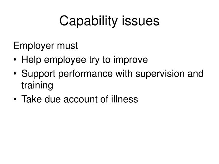 Capability issues