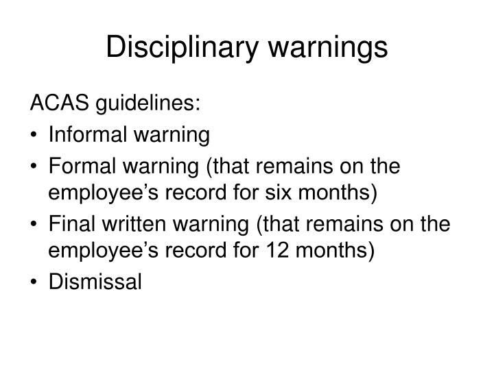 Disciplinary warnings