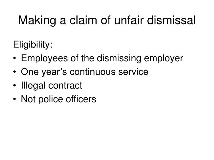 Making a claim of unfair dismissal