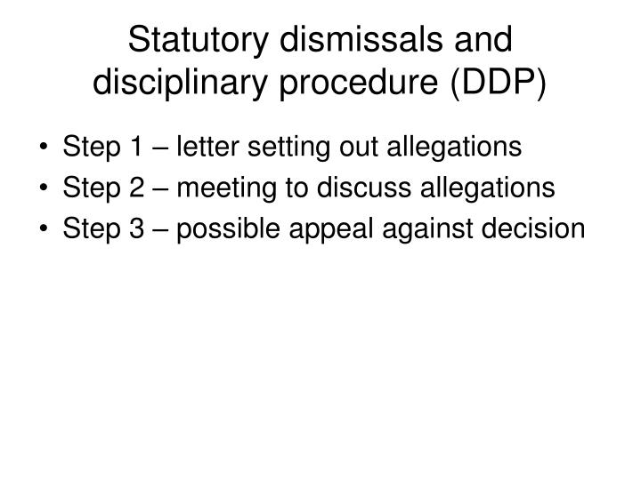Statutory dismissals and disciplinary procedure (DDP)