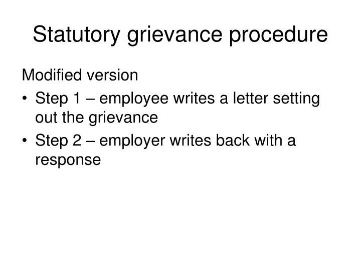Statutory grievance procedure