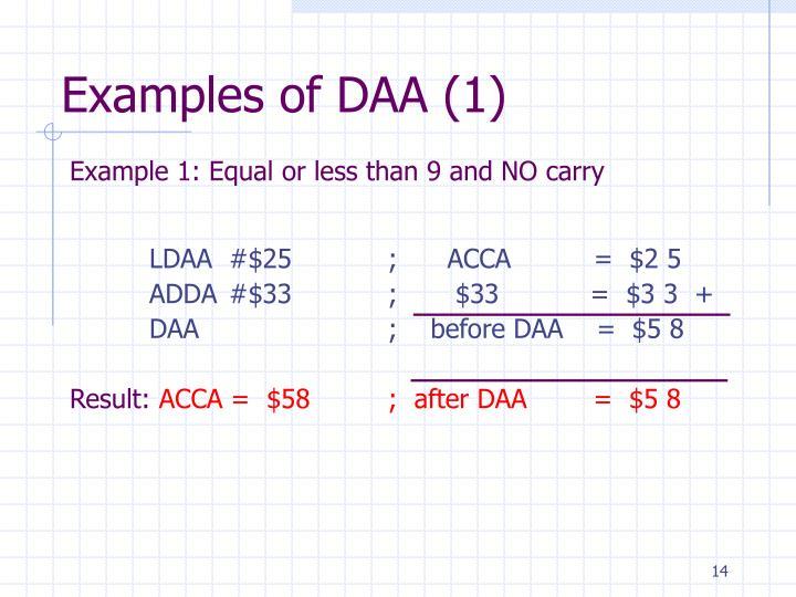 Examples of DAA (1)