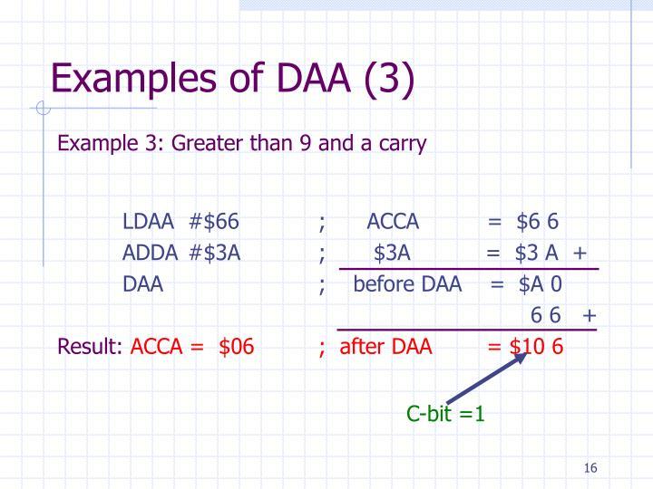 Examples of DAA (3)