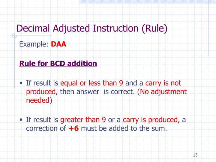 Decimal Adjusted Instruction (Rule)