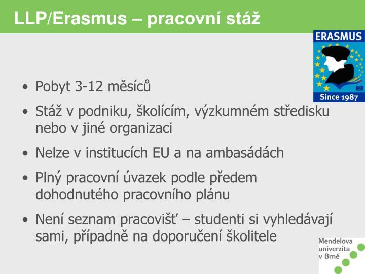 LLP/Erasmus – pracovní stáž