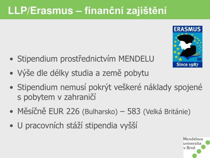 LLP/Erasmus – finanční zajištění