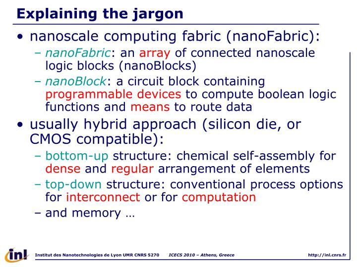 Explaining the jargon