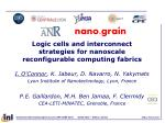 logic cells and interconnect strategies for nanoscale reconfigurable computing fabrics