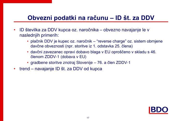 Obvezni podatki na računu – ID št. za DDV
