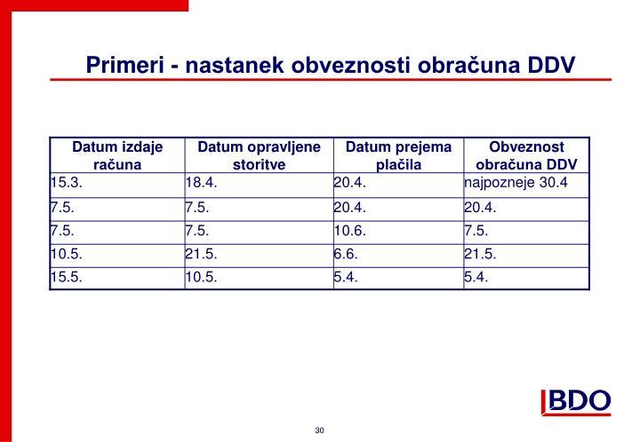 Primeri - nastanek obveznosti obračuna DDV