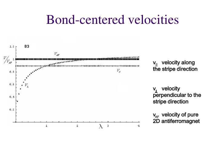 Bond-centered velocities