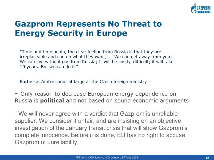 Gazprom Represents No Threat to Energy Security in Europe