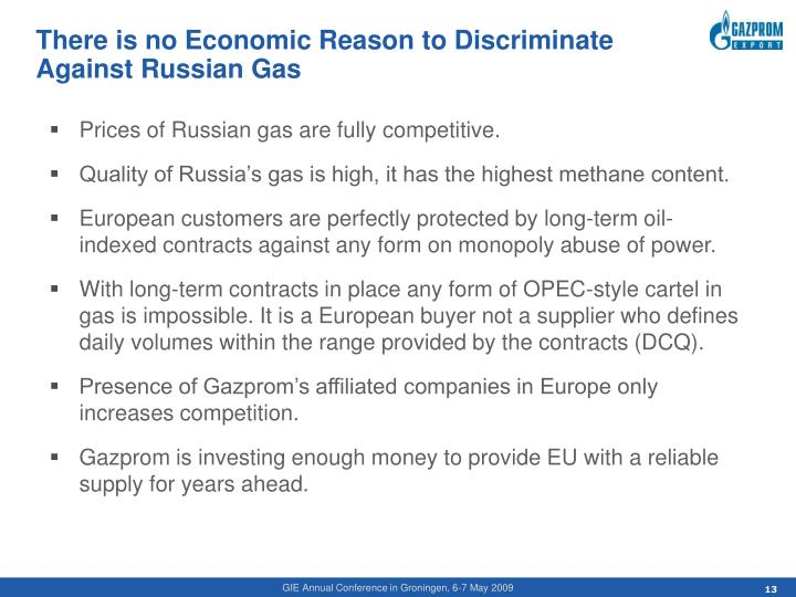 There is no Economic Reason to Discriminate Against Russian Gas