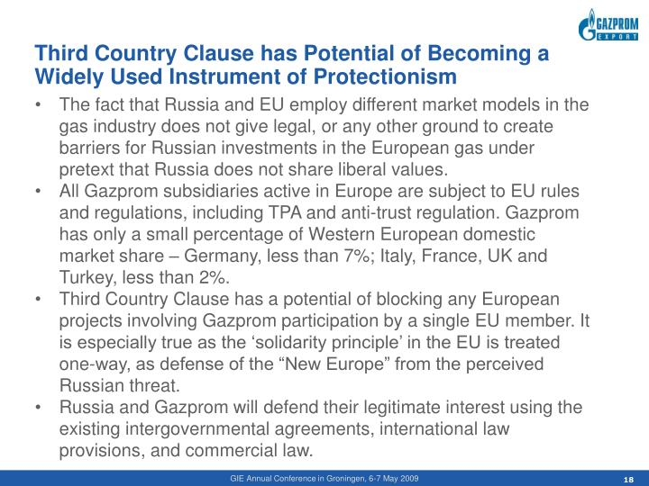 Third Country Clause has Potential of Becoming a Widely Used Instrument of Protectionism