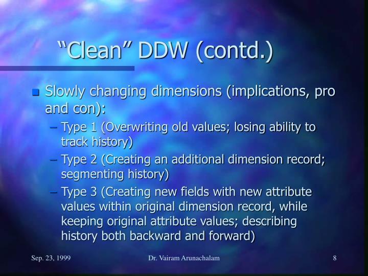 """Clean"" DDW (contd.)"