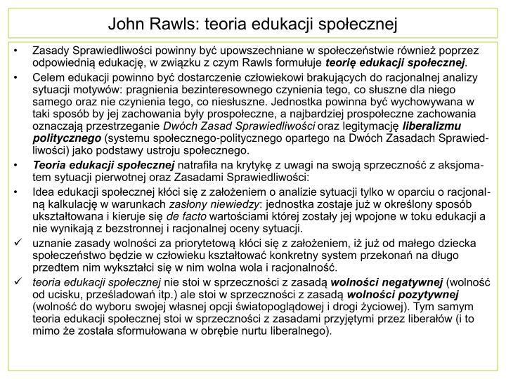 John Rawls: teoria edukacji społecznej