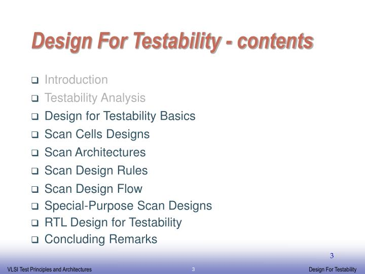 Design for testability contents