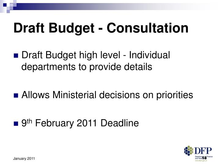 Draft Budget - Consultation