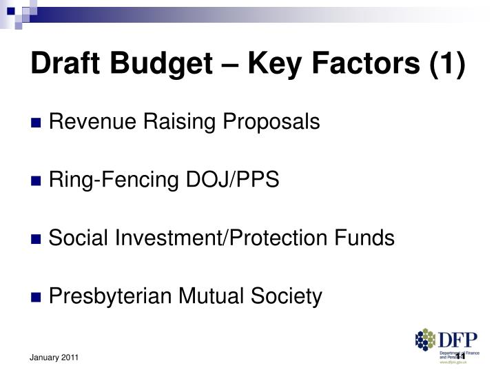 Draft Budget – Key Factors (1)