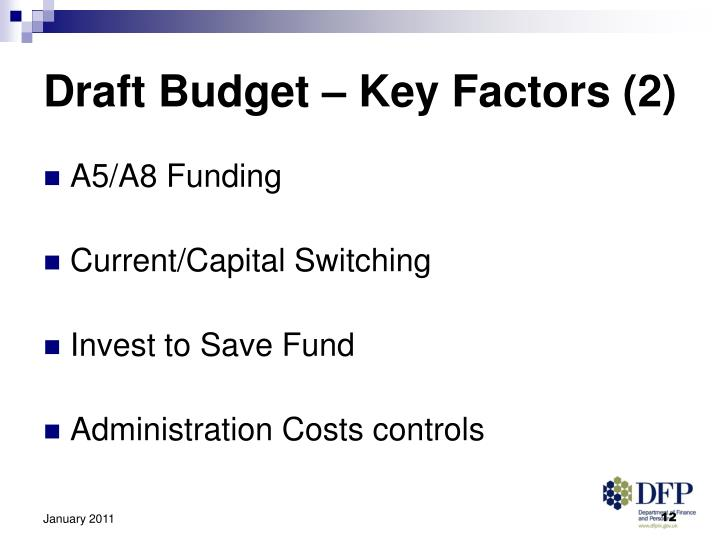 Draft Budget – Key Factors (2)