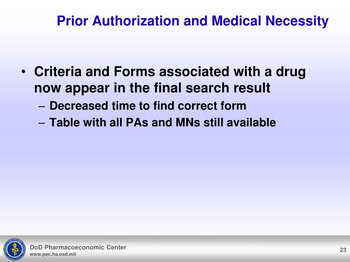 Prior Authorization and Medical Necessity