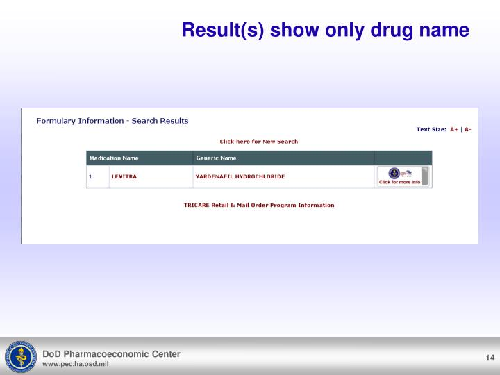 Result(s) show only drug name