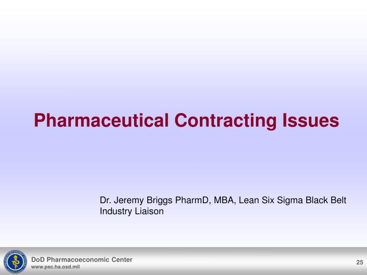 Pharmaceutical Contracting Issues